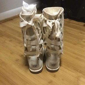 UGG Shoes - Heirloom Uggs Creme / Cream lace-up back Ugg Boots